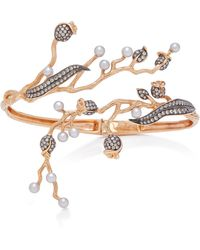 Colette - Set-of-two 18k Rose Gold, Pearl And Diamond Cuff - Lyst