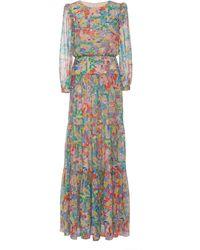Saloni Isabel Printed Silk-chiffon Maxi Dress - Multicolor