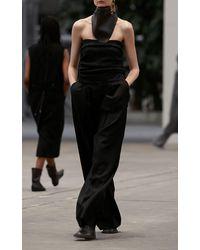 Mark Kenly Domino Tan Pavel Wool Wide-leg Trousers - Black