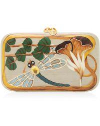 Silvia Furmanovich Dragonfly Embellished Wood Clutch - Gray