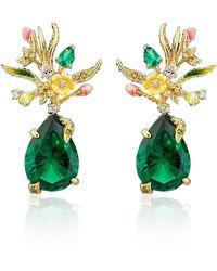 Anabela Chan Convertible Mini Posie Emerald 18k Gold Vermeil Earrings - Green