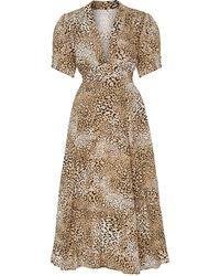 Faithfull The Brand Meadows Leopard-print Crepe Midi Dress - Green