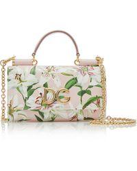Dolce & Gabbana - Von Floral-print Textured-leather Shoulder Bag - Lyst
