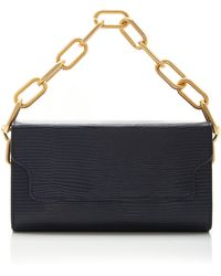 Marge Sherwood Clutch Box And Chain Lizard-effect Leather Top Handle - Blue