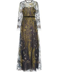 Naeem Khan Belted Embroidered Tulle Gown - Metallic