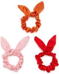 DONNI. Exclusive Set-of-three Chiquita Silk-satin Scrunchies - Red