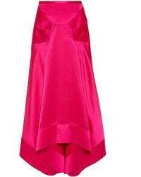 Acler Palmera Asymmetrical Midi Skirt - Pink