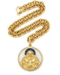 Sheryl Lowe - 14k Yellow Gold And Sapphire Buddha Necklace - Lyst