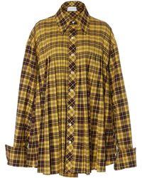 Matthew Adams Dolan Oversized Pleated Plaid Shirt - Yellow