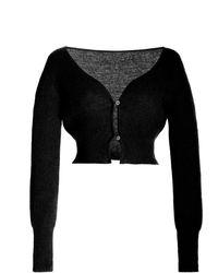 Jacquemus Alzou Mohair-blend Cropped Cardigan - Black