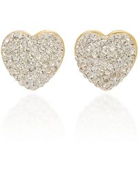 Lele Sadoughi Heart-shaped Glass Jewelled Stud Earrings - Metallic