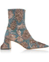 Rochas - Metallic Silk Brocade Ankle Boots - Lyst