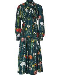 Oscar de la Renta - Pussy-bow Floral-print Silk Midi Dress - Lyst