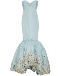 Elizabeth Kennedy Embroidered Silk-satin Mermaid Gown - Blue