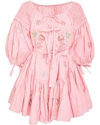 Innika Choo Frill Mini Smocked Dress - Pink