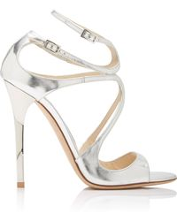 Jimmy Choo - Lang Asymmetric Mirrored Leather Sandals - Lyst