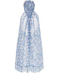 Cloe Cassandro Beniras Silk Mini Dress - Blue