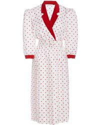 Rodarte Belted Polka-dot Silk Midi Dress - Red