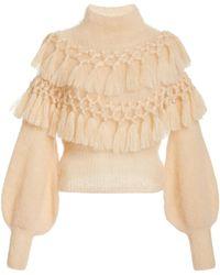 Zimmermann Ladybeetle Tassel-trimmed Mohair-silk Jumper - White
