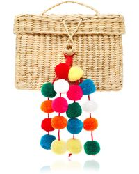 Nannacay Baby Roge Pom Pom-embellished Woven Raffia Tote - Multicolor