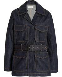 Wales Bonner Vision Belted Denim Jacket - Blue