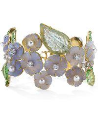 Irene Neuwirth One-of-a-kind 18k Gold Carved Chalcedony And Tourmaline Bracelet - Purple