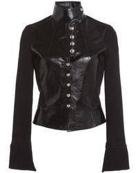 Paco Rabanne Knit-paneled Grained Leather Cropped Jacket - Black