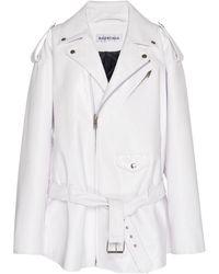 Balenciaga Oversized Leather Biker Jacket - White
