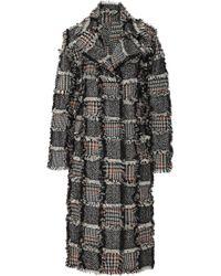 Oscar de la Renta - Fringe-trimmed Wool-alpaca Blend Plaid Coat - Lyst