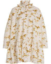 Ganni Horse-print Cotton Mini Dress - Multicolour