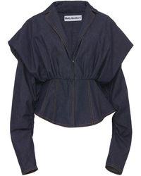 Molly Goddard Rudi Denim Corset-waist Jacket - Blue