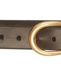 Prada Brown Leather Belt With Horseshoe Buckle