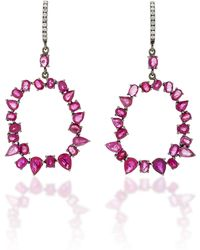Nina Runsdorf - M'o Exclusive One-of-a-kind Ruby And Diamond Jagged Edge Earrings - Lyst