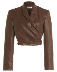 Ronny Kobo Lilo Faux Leather Wrap Blazer - Brown