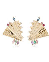 Carolina Neves Plissé 18k Yellow Gold Multi-stone Earrings - Metallic