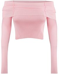 Anna October Anechka Ribbed-knit Off-the-shoulder Top - Pink