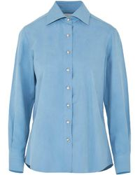Giuliva Heritage Collection The Elvira Silk Top - Blue