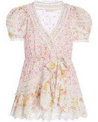 LoveShackFancy Belen Patchwork Floral Cotton Wrap Mini Dress - Yellow