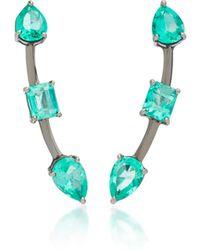 Jack Vartanian - Rhodium-plated 18k White Gold Emerald Earrings - Lyst