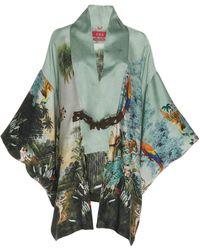 F.R.S For Restless Sleepers Stige Printed Silk Kimono Dress - Green