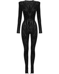 Alex Perry Leighton Zebra-print Jersey Jumpsuit - Black