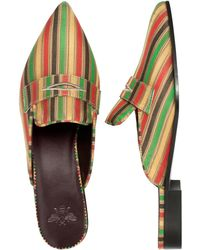 Bougeotte Spices Striped Satin Mule - Multicolor