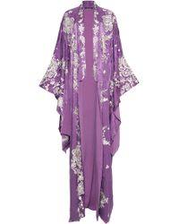 Roberto Cavalli Silk Floor Length Robe - Purple