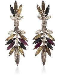 Nicole Romano - Multicolored Feather Crystal Earrings - Lyst