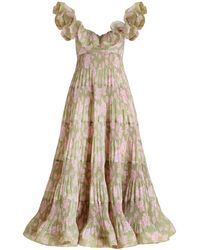 Zimmermann The Lovestruck Pleated Ruffle Maxi Gown - Pink