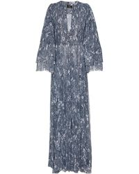 J. Mendel Patterned Pleat-accented Silk Gown - Blue