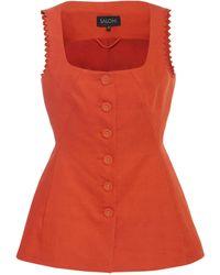 Saloni Bibba Sleeveless Jacket - Red