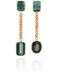 Objet-a Curb 18k Gold And Tourmaline Earrings - Multicolor
