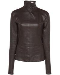 Bottega Veneta Mock Neck Leather Top - Brown