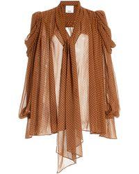 Acler Swansea Puff-sleeve Polka-dot Georgette Tie-neck Top - Brown